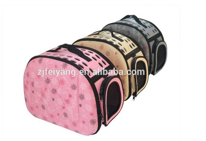 Factory wholesale Breathe Freely Foldable Pet Carrier Bag,fabric eva dog cat pink bag with handle/shoulder
