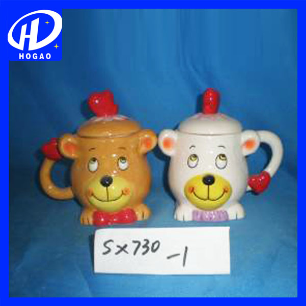 Toy Bear Couple Ceramic Cup Mug with Cover Best Love to Boys and Girls Gift