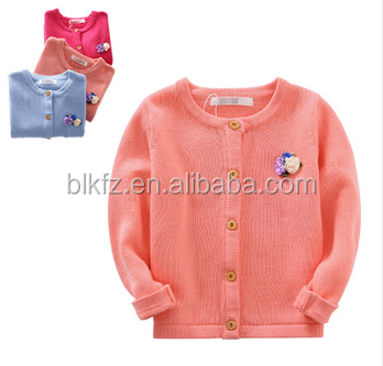 2017 Beautful Pure Colour latest sweater designs Cotton Knitted Cardigan for Girls/Kids