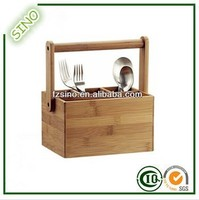 SINO Delicate Bamboo Picnic Caddy Tableware Holder