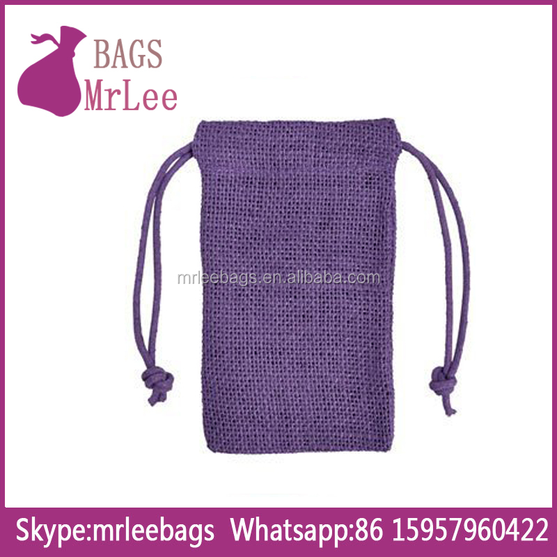 Custom purple drawstring Jute favor Bags