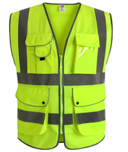 9 Pockets Class 2 High Visibility Zipper Front Safety Vest With Reflective Strips, Yellow Meets ANSI/ISEA Standards