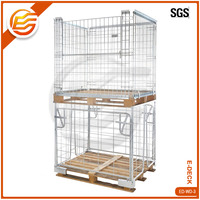 Stackable Steel Galvanized Metal Wire Mesh Pallet Container For Storage