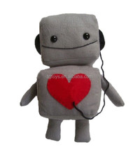 Warm soft toys listen to my heart plush robot toy