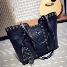 Women Handbags Vintage Bags Retro PU Leather Tote Bag Girl Tassel Casual Shoulder bags
