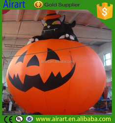 Factory Wholesale Small LED Lighted Halloween Inflatable Pumpking And Cat