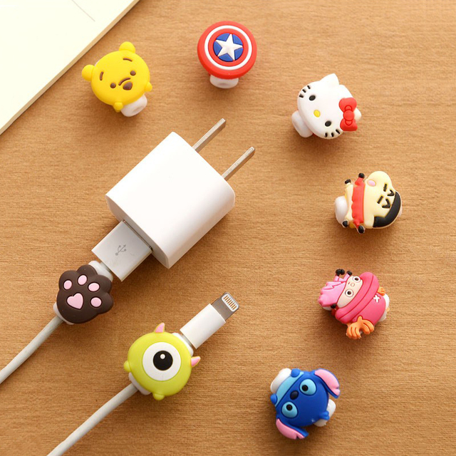 Cute Kawaii Lovely Cartoon Cable Protector USB Cable Winder Cover Case Shell For IPhone 5 5s 6 6s 7 splus cable Protect stitch