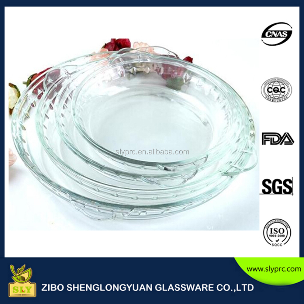 2016 High quality round heat-resistant pyrex borosilicate glass pie dish/glass pizza pan/glass baking plate
