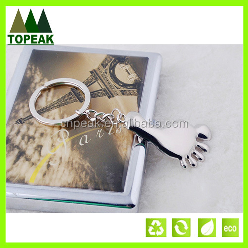 Wholesale promotional gifts Foot shaped metal key chain keychains