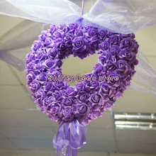 Artificial Foam Rose Flower W/Diamante Heart Shaped Wreath for wedding decoration