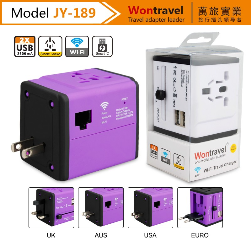 JY-189 Dongguan factory 5V 2.5A high power dual usb wifi adapter universal ac dc power adaptor
