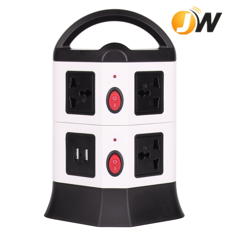 Desk Mounted 8 Gangs Universal Outlets Poer Strip Sockets with 6.5 feet Retractable Cable