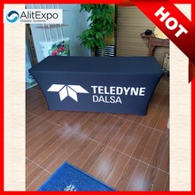 Banquet elastic heat resistant table cover and tablecloth, fitted outdoor or indoor use table skirt, custom logo table throw