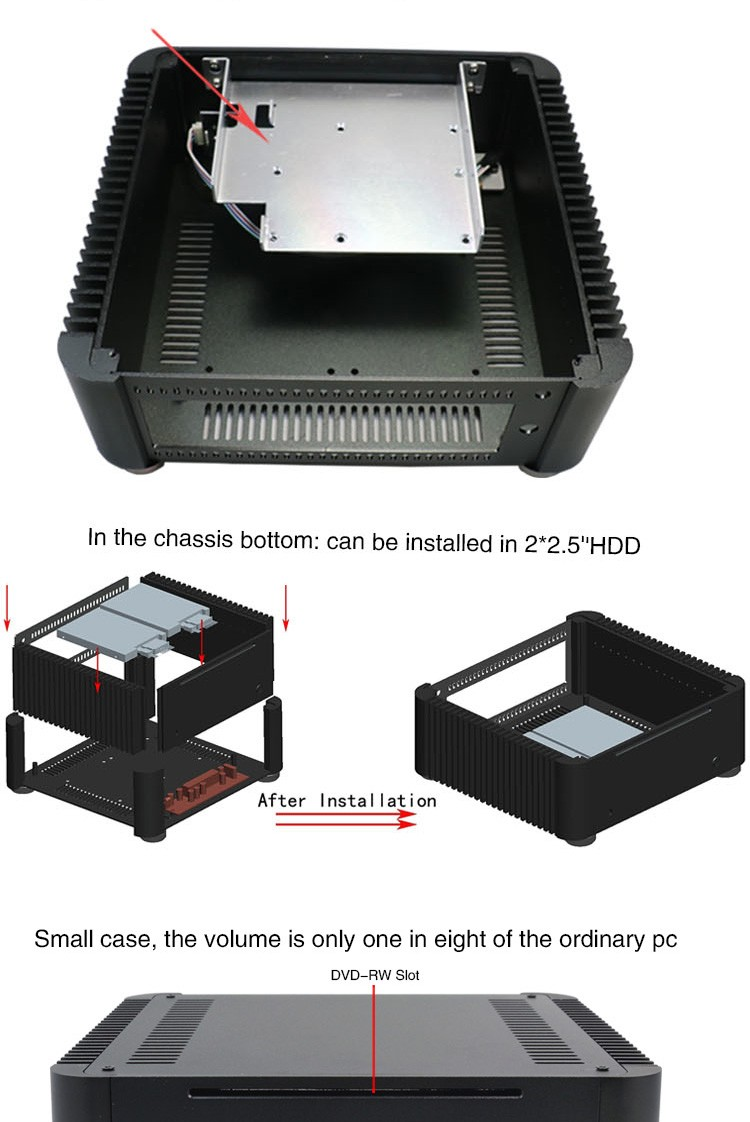 high quality best design DIY computer empty htpc chassis fanless mini itx case with 2.5 inch HDD and CD-ROM