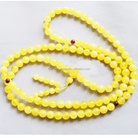 Yellow(milk) Amber Buddhist Rosary, 8 mm