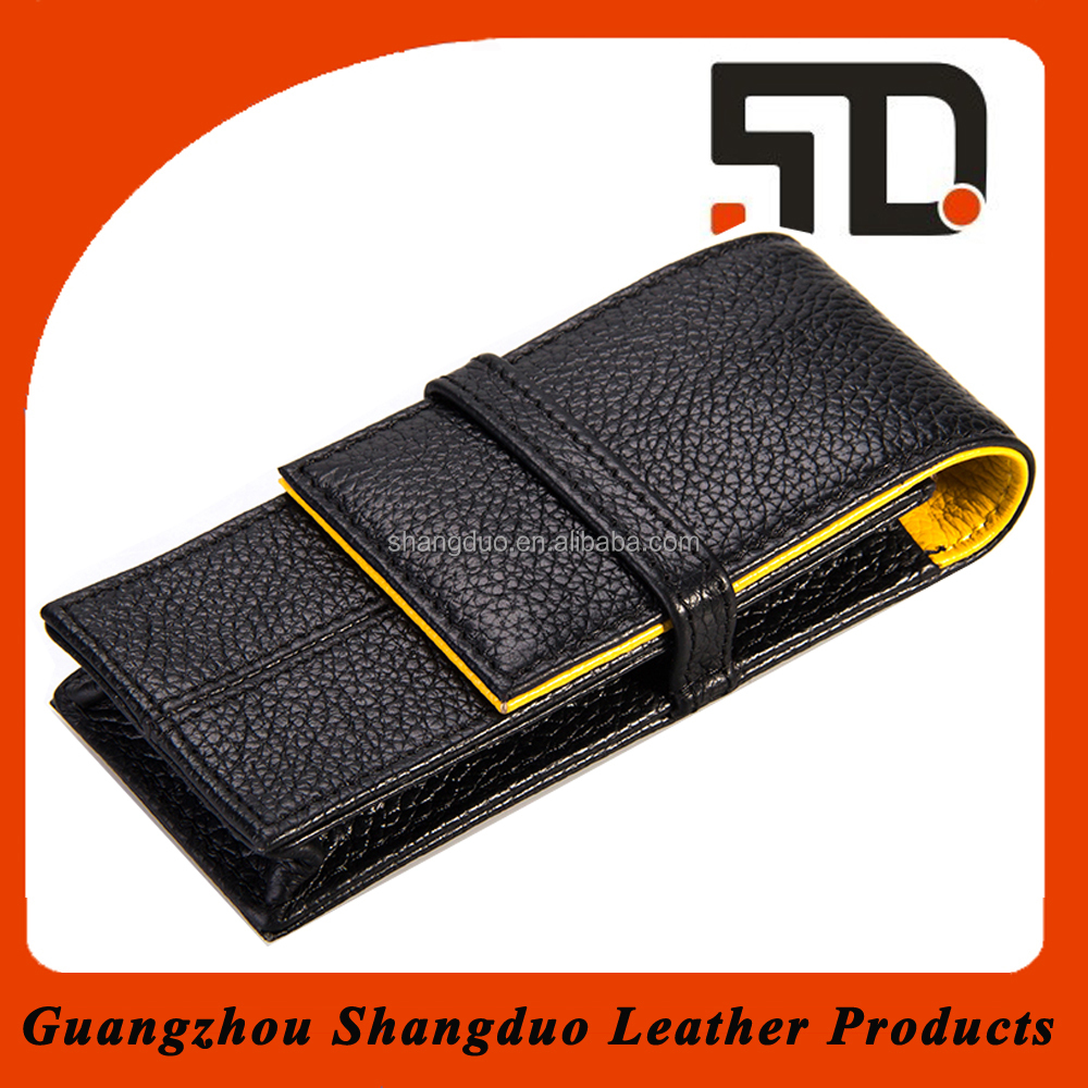 Black Color Nice Design Handmade Cheap Leather Large Pencil Case