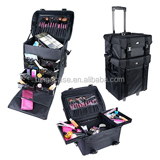 Makeup Artists Soft Rolling Trolley Cosmetic Case