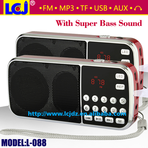 L-088 portable super bass mini speaker box with FM radio