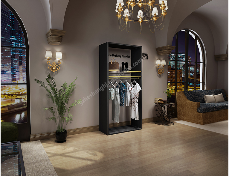 Light luxury style clothing shopfitting. womenswear store wood Tall rack HB06G08