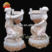 Garden marble flower pot with figure statue for sale