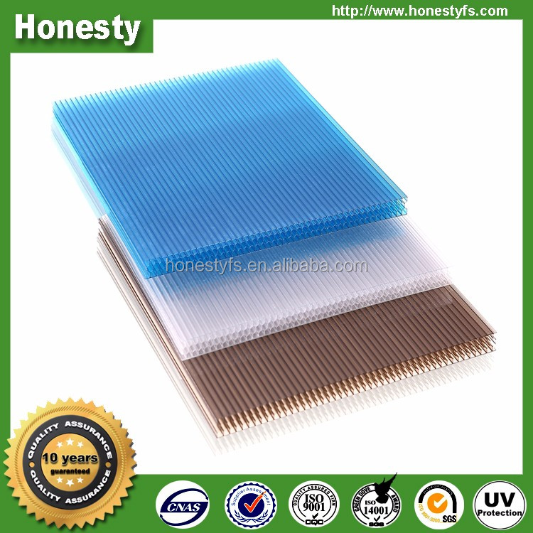 100% Vrigin material high quality guarantee 50um UV resistant polycarbonate honeycomb sheet