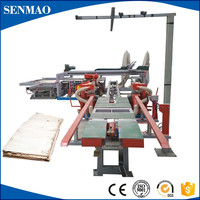 Full automatic plywood double cutting saw machine/plywood edge trimming saw/Wood cutting panel saw