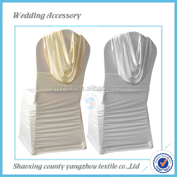 spandex ruffled chair cover with valance spandex chair covers/universal wholesale cheap chair covers wedding decoration