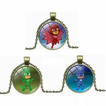 pjmasks Necklaces Boys Glass Pendant Necklace Connor Amaya Greg Cosplay Necklace kids Girls Jewelry