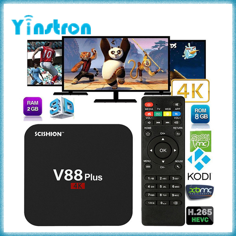 New arrival V88 pro Amologic S905X WIFI 2.4GHz 1GB 8GB quad core iptv sports live streaming smart tv box