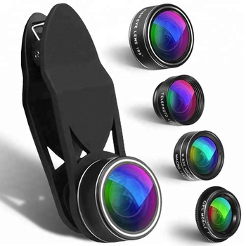 Hot selling New products 5 in 1 mobile phone lens kit wide angle/macro with fisheye zoom lens for android/iphone