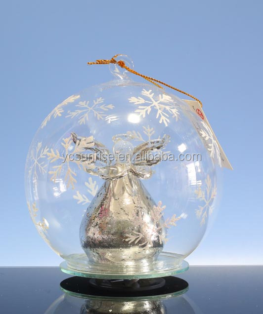 Personalized glass Christmas ball with LED silver angel figurines ornament wholesale