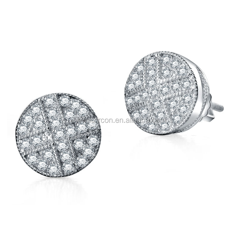 2016 New designs 925 silver cross full cz diamond stud earrings for women and men