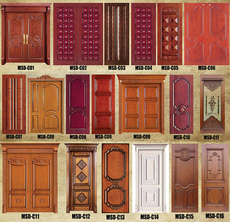 Flat exterior wooden double doors design catalogue, View wooden ...