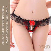 Black lace and pearl design stretch fit sexy hot red panty underwear