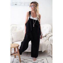 Professional supplier autumn western style fashion casual loose large size suspender trousers