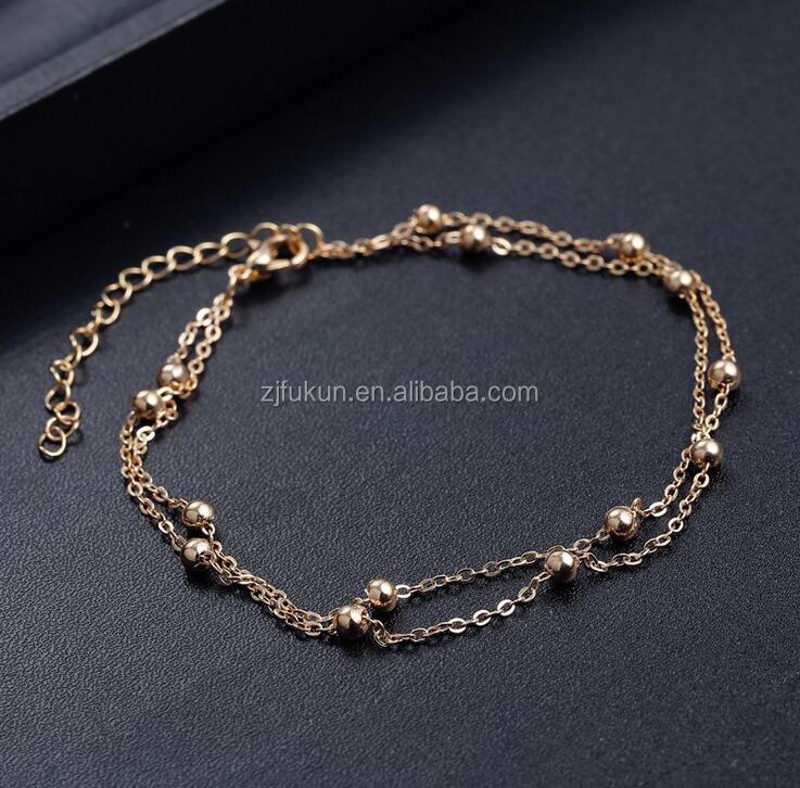 high quality handmade metal small ball chain slave anklets