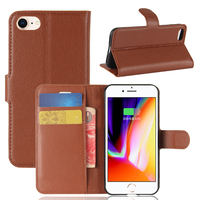 Litchi Pattern PU Leather Wallet Case Flip Stand Cover with Card Slots Phone Case for iPhone 8