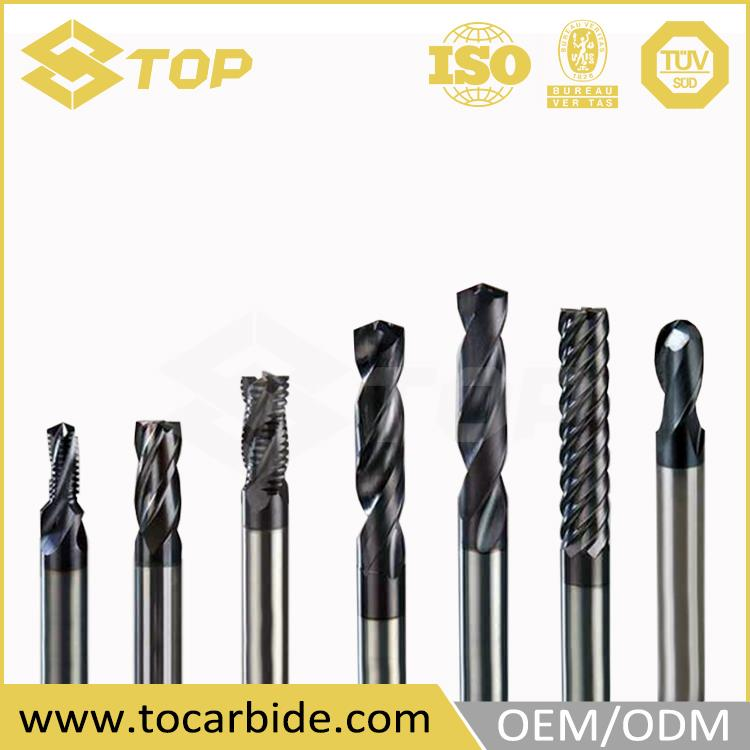 OEM design concrete router bit, solid carbide coated long end mills, precise solid carbide flat end mill