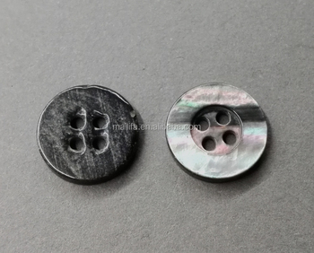 Wide Edged 4-Holes Black MOP Shell Button Natural AB Color