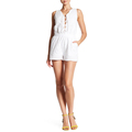 Eyelet Split Neck with Front Lace-up closure Jumpsuits Rompers