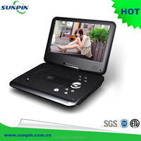 9 inch tft lcd black portable dvd player with bluetooth tv tuner 180 degree swivel