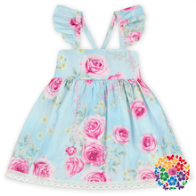 Casual Baby Girl Floral Dresses Cute Flutter Dresses For Girls With Lace On The Bottom Kids Girls Smoking Party Backless Dresses