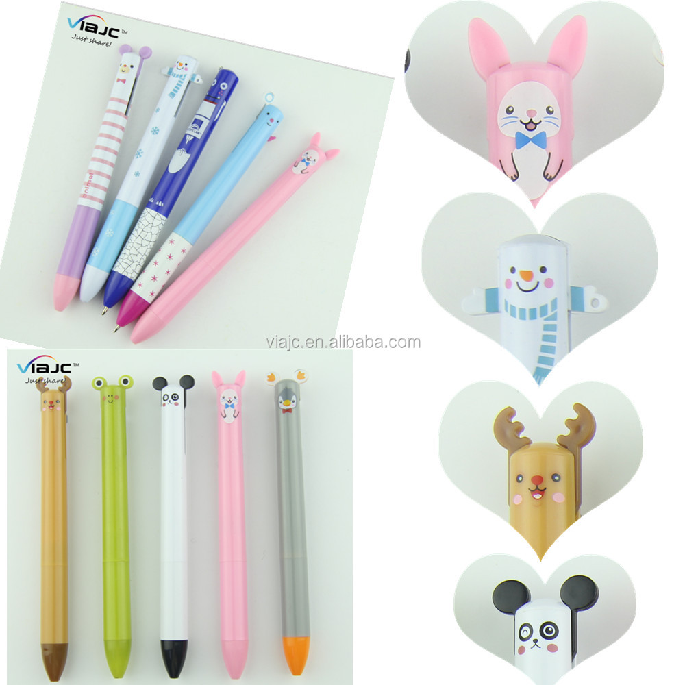 Kawaii two color pen cartoon character ball pen