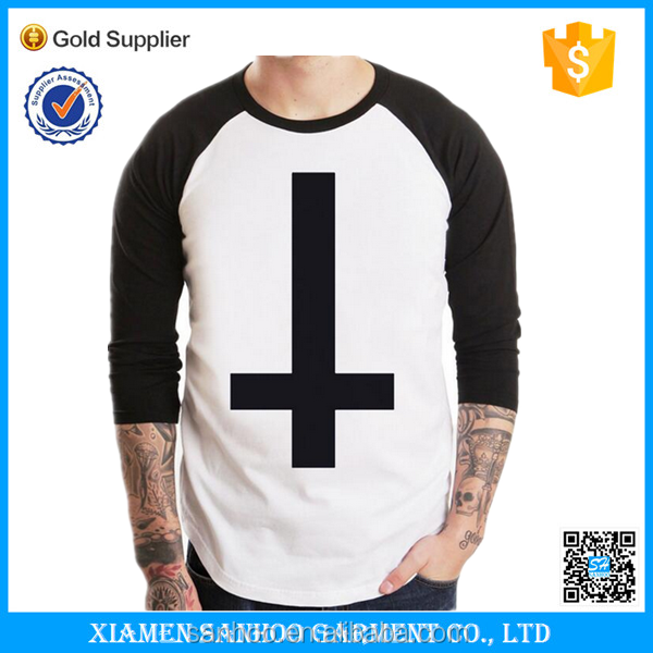 Mens Baseball tee plain 3/4 sleeve Raglan Tee White With Black Custom Printied Logo
