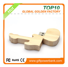 Guitar USB Flash Drives Wooden Gift Present Personality Natural bamboo or wood usb thumb drive