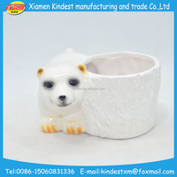 promotional white pole bear ceramic flower pot with high quality