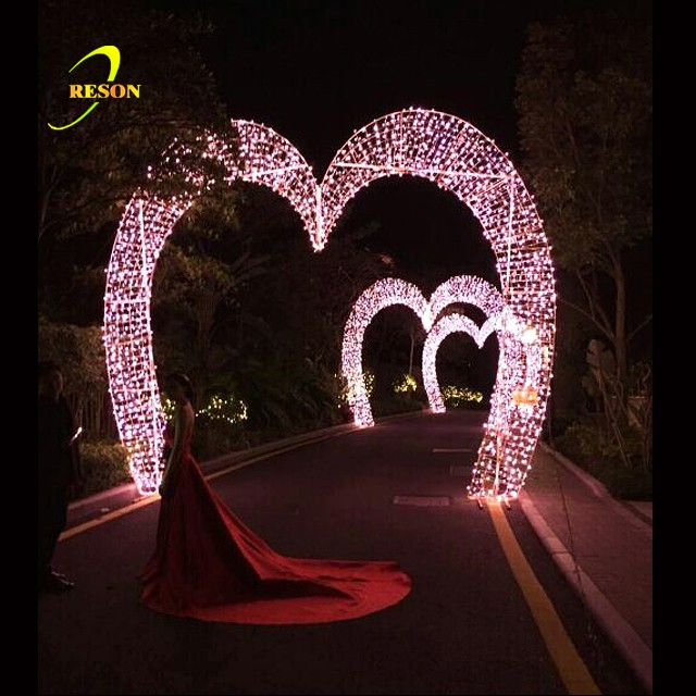 RS-AD31 Led Heart Shape Motif Arch For Wedding Decoration