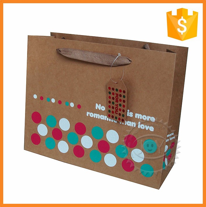 Hot sell cheap printed recycled brown kraft paper bag for shopping