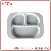 Promotional unbreakable melamine solid white 3 compartment divied hospital food plate