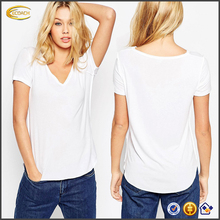 Ecoach fashion casual women short sleeve v neck plain white blank 100% cotton t-shirt